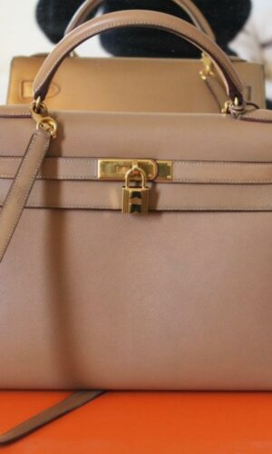 Hermès Kelly 32 Ocre and Gold Epsom Leather bag 1
