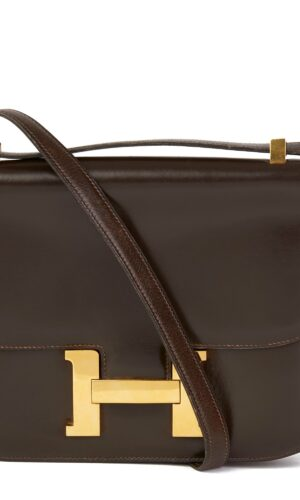 Hermès Chocolate Brown Box Calf Leather Vintage Constance 23