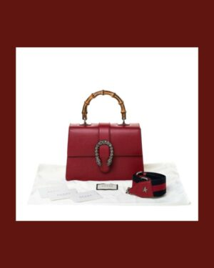 Gucci Red Leather Medium Dionysus Bamboo Bag 5