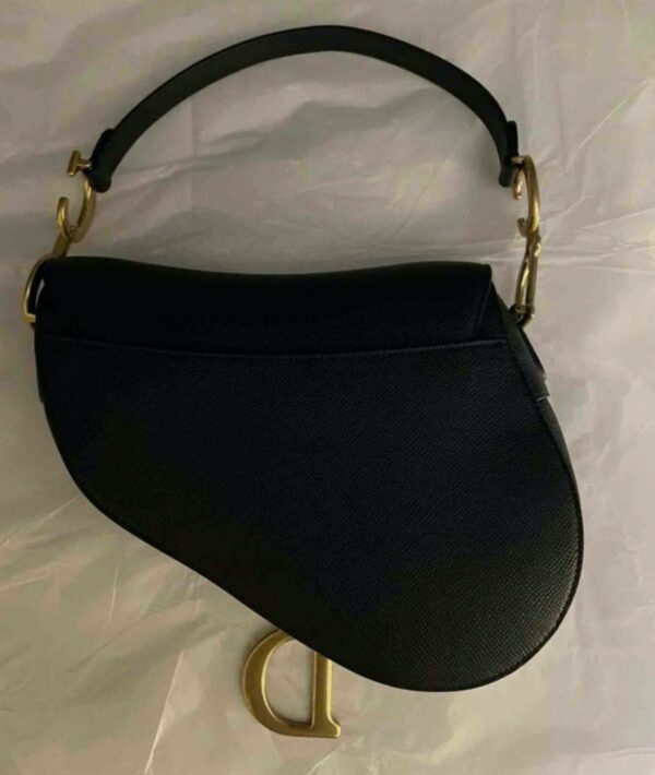 Dior Black and Gold Grained Calfskin Saddle Bag 2