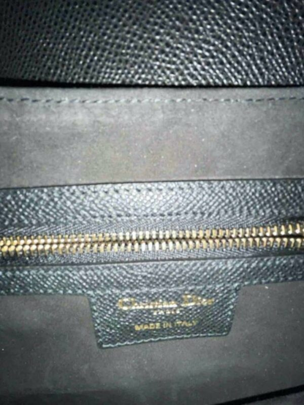 Dior Black and Gold Grained Calfskin Saddle Bag 3