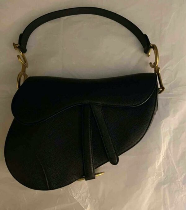 Dior Black and Gold Grained Calfskin Saddle Bag 5