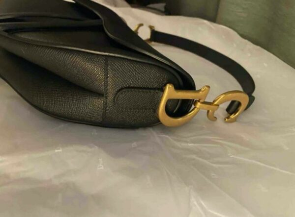 Dior Black and Gold Grained Calfskin Saddle Bag 6