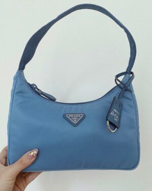 Prada Re-edition 2000 Blue Hobo Bag 1